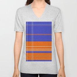 Orange and Blue Plaid Unisex V-Neck
