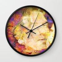 oscar wilde Wall Clocks featuring Oscar Wilde by Ganech joe
