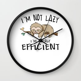 Sloth energy lazy Sleeping Tired sweet gift Wall Clock