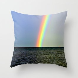 Pot of gold over the Bay Throw Pillow