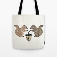 squirrel Tote Bags featuring squirrel by Manoou