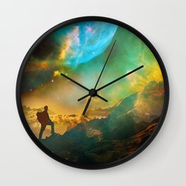 Vibrant Space Hiker Wall Clock