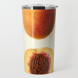 Vintage Illustration of a Sliced Peach Travel Mug