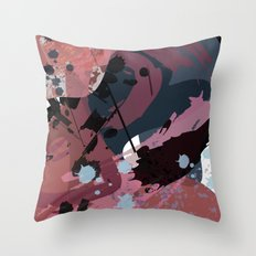 A mess of me: an abstract mixed media piece in muted pinks, blues, and black Throw Pillow