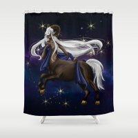 zodiac Shower Curtains featuring Zodiac by Aoi Hikari Arts