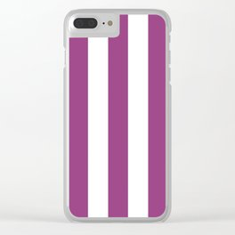 Violet (crayola) - solid color - white vertical lines pattern Clear iPhone Case