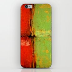 Textured abstract in green and orange iPhone & iPod Skin