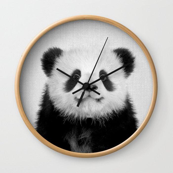 Panda Bear - Black & White Wall Clock