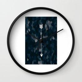 Blue Geometric Polygon White Single Arrow Wall Clock