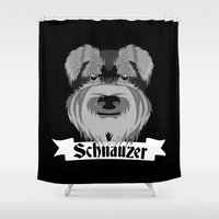 schnauzer Shower Curtains featuring Schnauzer by mailboxdisco