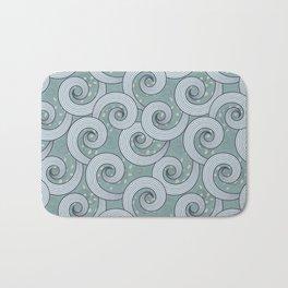 Spiral waves pattern in a bluish green background Bath Mat