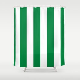 Classic Cabana Stripes in White + Kelly Green Shower Curtain