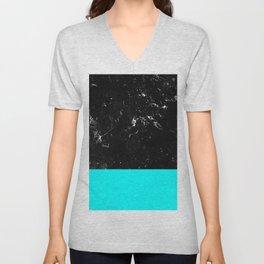Aqua Blue Meets Black Marble #1 #decor #art #society6 Unisex V-Neck