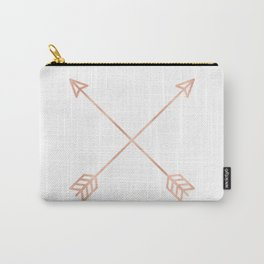 Rose Gold Arrows on White Carry-All Pouch