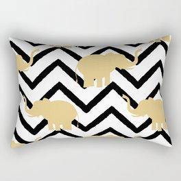 elephant gold silhouette on abstract black chevron Rectangular Pillow