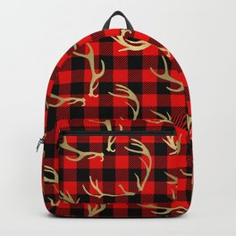 Gold Antlers & Red Plaid Backpack