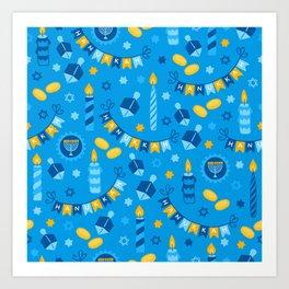 Happy Hanukkah Banner Pattern Art Print