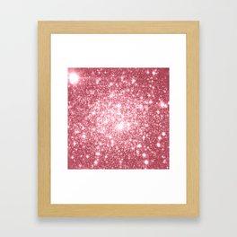 Pink Sparkle Stars Framed Art Print