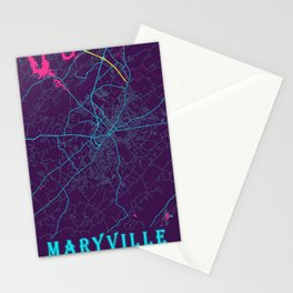 Maryville Neon City Map, Maryville Minimalist City Map Art Print Stationery Cards