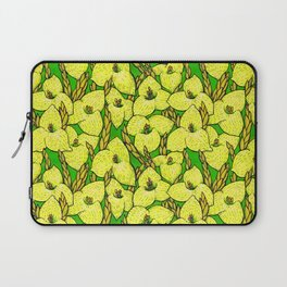Puya Flowers, Floral Pattern, Green Yellow Laptop Sleeve