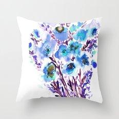 Bouquet Blue Throw Pillow