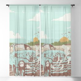 OLD TRUCK Sheer Curtain