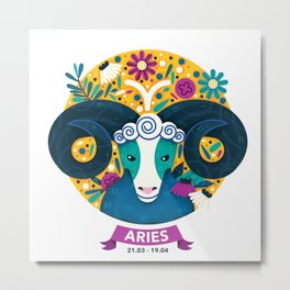 Gorgeous Aries Zodiac Sign Metal Print