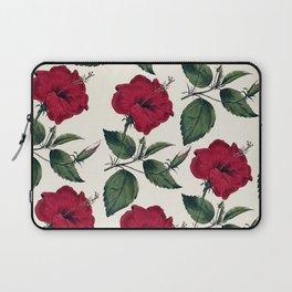 Botanical vintage dark red green ivory floral Laptop Sleeve