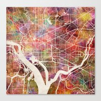 washington Canvas Prints featuring Washington by MapMapMaps.Watercolors