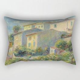 """Pierre Auguste Renoir """"Vue de la poste à Cagnes"""" Rectangular Pillow"""
