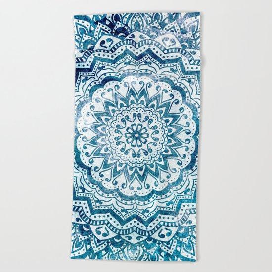 BLUE JEWEL MANDALA Beach Towel