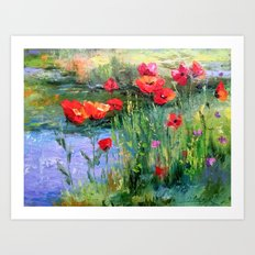 Poppies in a field near a pond Art Print