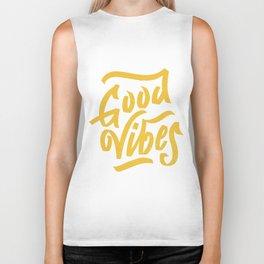 Good Vibes, white & gold lettering Biker Tank