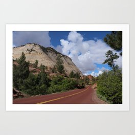 A Red Road In Zion NP Art Print