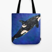 killer whale Tote Bags featuring Killer Whale by Ben Geiger