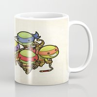 ninja turtles Mugs featuring Kawaii Mutant Ninja Turtles by Squid&Pig