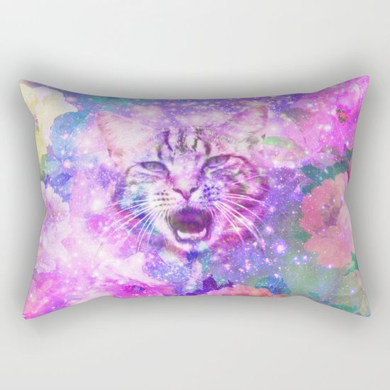 Space Cat   Girly Kitten Cat Romantic Floral Pink Nebula Space Rectangular Pillow