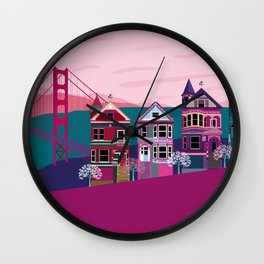 San FranciscoPainted Ladies and Golden Gate Wall Clock