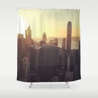 hong kong Shower Curtains featuring hong kong sundown by Gray