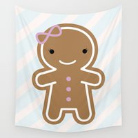 marceline Wall Tapestries featuring Cookie Cute Gingerbread Girl by Marceline Smith