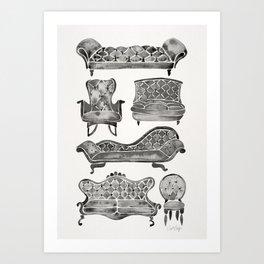 Victorian Lounge – Black Palette Art Print