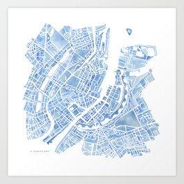Copenhagen Denmark watercolor city map Art Print