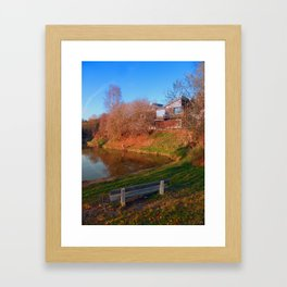 Romantic bench at the pond | waterscape photography Framed Art Print