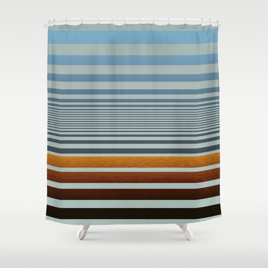 Masculine Grey Blue Wood Grain Gradient Stripes Shower Curtain