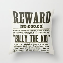 Wanted poster for Billy the Kid Throw Pillow