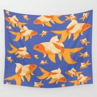 goldfish Wall Tapestries featuring Goldfish by PoseManikin