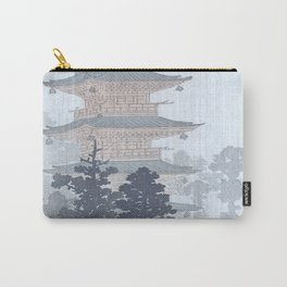 Man with Umbrella And Japanese Pagoda - Vintage Japanese Woodblock Print Art By Ohara Koson Carry-All Pouch