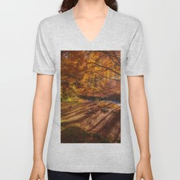 The Golden Autumn Campground (Color) Unisex V-Neck