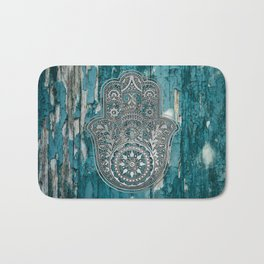 Silver Hamsa Hand On Turquoise Wood Bath Mat