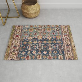 Dusty Blue Green Kuba 19th Century Authentic Colorful Yellow Bands Vintage Patterns Rug